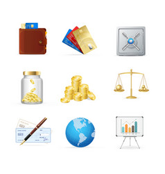 finance color icon set vector image vector image