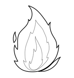 Flame icon outline style vector