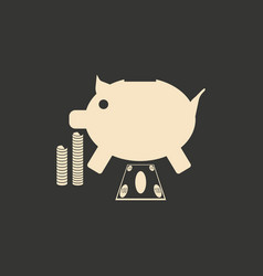 Flat in black white piggy bank and the dollar vector
