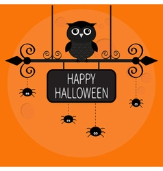 Happy halloween card owl bird spider on dash line vector