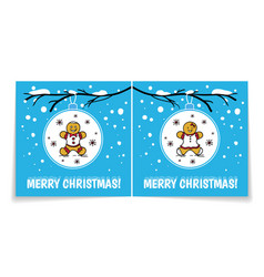 holiday card with gingerbread man and woman vector image vector image