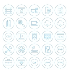 Line circle coding icons vector