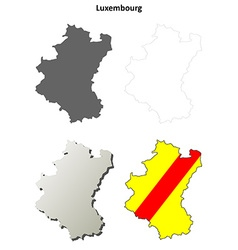 Luxembourg outline map set - walloon version vector