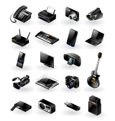 Mixed electronics icon set vector image vector image