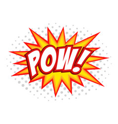 Pow comic splash bubble text vector