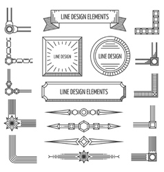 Retro linear outline design elements frames vector image vector image