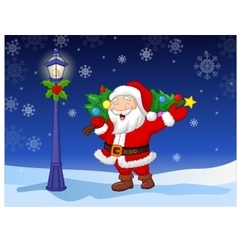 Santa carrying a Christmas tree vector image vector image