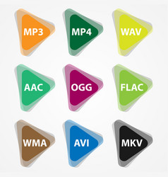 set of colored media file icons vector image