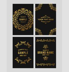 set of floral logo frame and monogram golden on vector image vector image