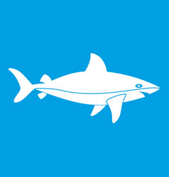 shark fish icon white vector image