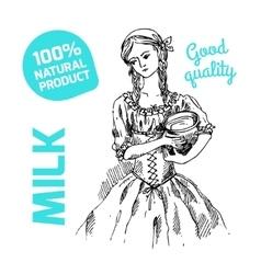 Sketch of milkmaid vector