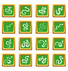 Snake icons set green vector