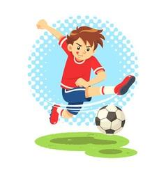 Soccer boy shooting the ball to make a goal vector