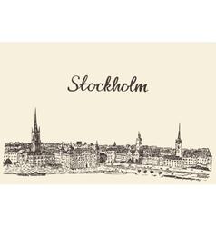 Stockholm skyline engraved drawn sketch vector