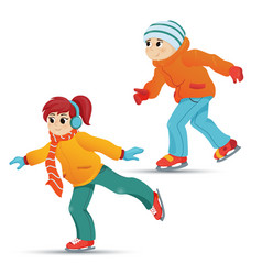 teenage boy and girl ice skating winter sport vector image vector image