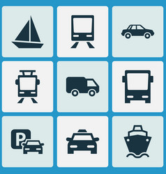 Transport icons set collection of streetcar cab vector