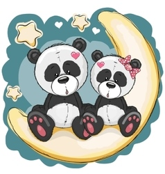 Two pandas on the moon vector