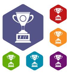 Winner cup icons set hexagon vector