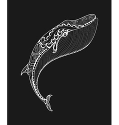 Zentangle white whale print for adult vector