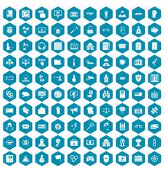 100 hacking icons sapphirine violet vector image