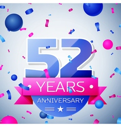 Fifty two years anniversary celebration on grey vector