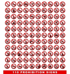 110 Prohibition signs vector image