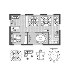 business office plan witch furniture vector image