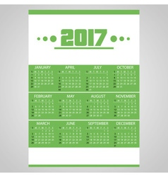 2017 simple business wall calendar green and white vector image