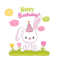 Happy birthday card with a bunny vector