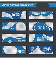 Discount banners blue set vector