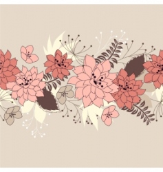 Seamless horizontal floral pink pattern vector