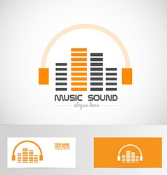 Audio music volume sound headphones logo vector