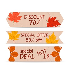 Set of bookmarks sticker tags autumn leaves vector