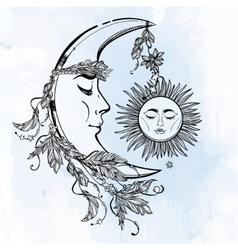 Crescent Moon and Sleeping Sun vector image