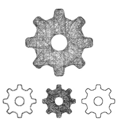 Settings cogwheel icon set - sketch line art vector