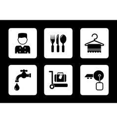 Hotel icons on black background vector