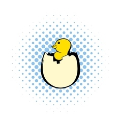 Yellow newborn chicken hatched from the egg icon vector
