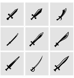 Black sword icon set vector