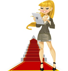 Cute girl with laptop on success ladder vector