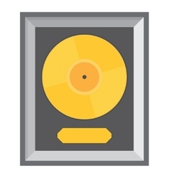 Golden vinyl in frame on wall vector image