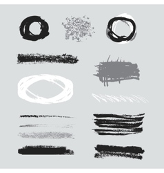 Isolated shapes set of black grunge vector