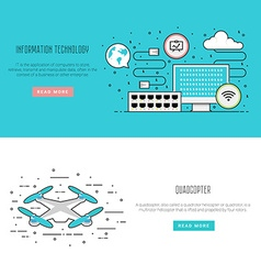 Air drone infographic in flat line style Network vector image vector image
