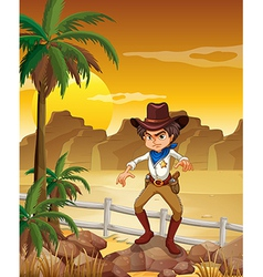 An angry cowboy at the desert vector image