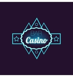 Bar casino blue neon sign vector