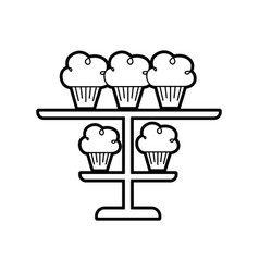 Birhtday cupcakes candles on tiered platter vector