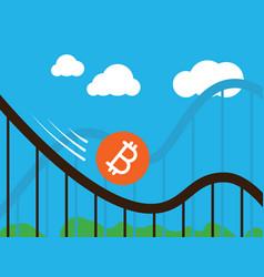 Bitcoin coin on roller-coaster vector