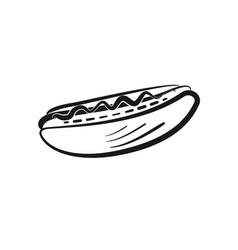 black isolated outline hot dog icon vector image vector image