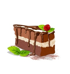 cake with cream and cherry on a white background vector image vector image