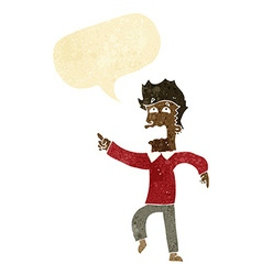 Cartoon frightened man pointing with speech bubble vector