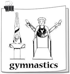 Doodle of people doing gymnastics vector image vector image